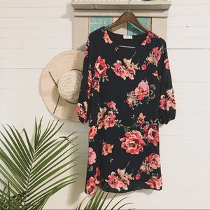 Everly | Floral Dress Knee Length 3/4 Sleeves
